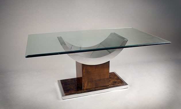 Modern Dining Table | Glass Top, Wood Base | Los Angeles | Italy 2000